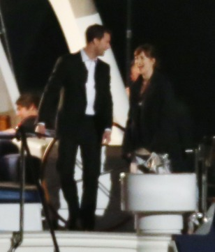 "52037186 Actress Dakota Johnson and Jamie Dornan film scenes on a yacht for ""Fifty Shades Darker"" in Vancouver, Canada on April 27, 2016. FameFlynet, Inc - Beverly Hills, CA, USA - +1 (310) 505-9876"