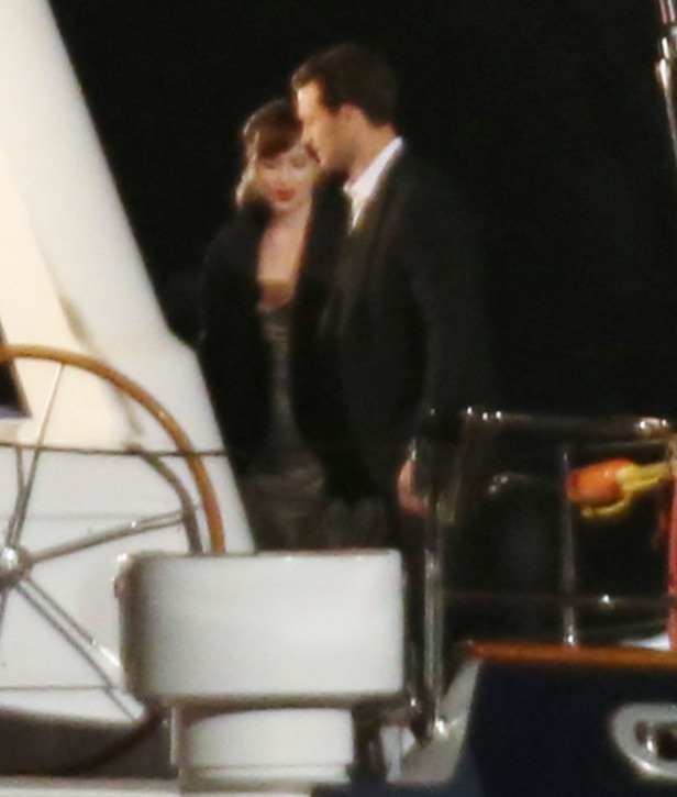 "52037189 Actress Dakota Johnson and Jamie Dornan film scenes on a yacht for ""Fifty Shades Darker"" in Vancouver, Canada on April 27, 2016. FameFlynet, Inc - Beverly Hills, CA, USA - +1 (310) 505-9876"